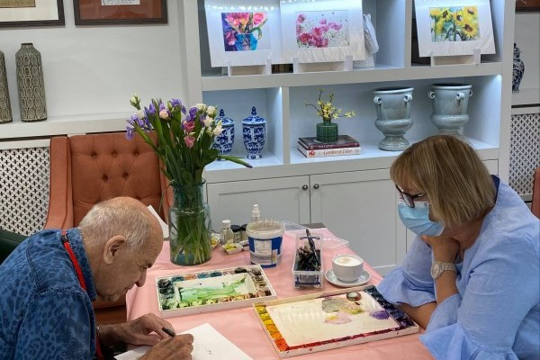 Painting with Talented Guest at Brampton Manor Care Home
